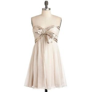 Elegance Sparkle Bow Strapless Sexy Dress S